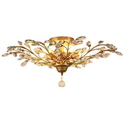 LightInTheBox Retro Vintage Flush Mount Chandelier Ceiling Light Tree Leaf Shape 5 Lamp Crystal Light for Living Room Bedroom Dinning Room (Crystal Vintage Gold)