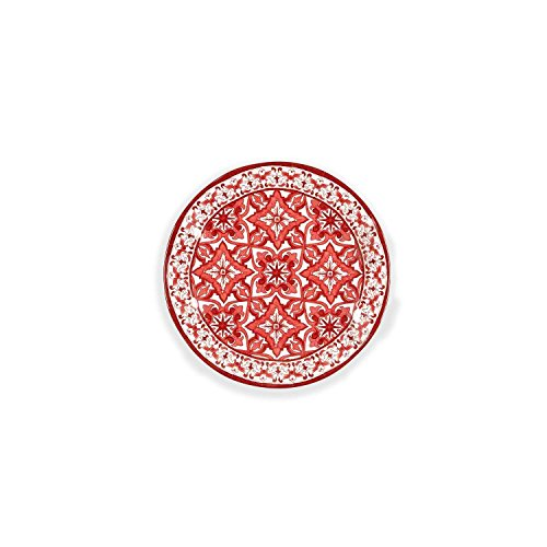 Q Squared Talavera in Roja BPA-Free Melamine Dinner Plate, 10-1/2 Inches, Set of 4, Red and White