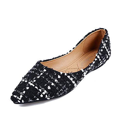 (Womens Classic Pointy Toe Ballet Flats Plaid Dress Shoes Basic Flat Shoes for Work Slip On Moccasins XWD7099 Black 39)