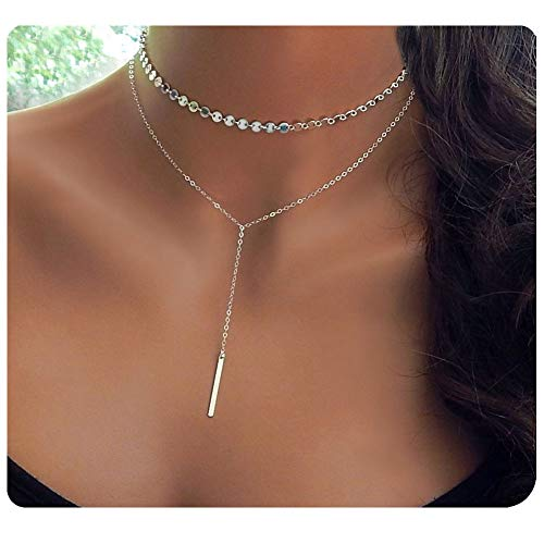 Culovity Bar Pendant Choker Necklace White Gold Filled Layered Coin Chain Jewelry Women ()