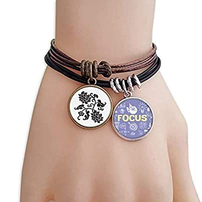 master DIY Silhouette Black Flowers Plant Bracelet Rope Wristband Force Handcrafted Jewelry Estimated Price -