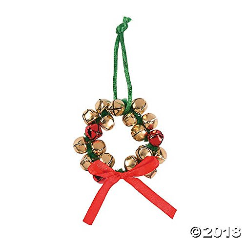 Fun Express Metal Jingle Bell Wreath Christmas Ornament Craft Kit for Kids-Makes 12 School Classroom Activity