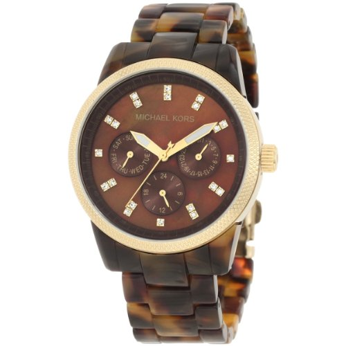 Michael Kors MK5038 Women's Chronograph Ritz Acrylic Tortoiseshell Bracelet Watch (Bracelet Watch Acrylic)