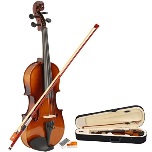 MicroMall(TM) 1/2 Acoustic Violin + Case + Bow + Rosin Natural by GLARRY