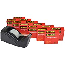 Scotch Transparent Tape with C60 Desktop Dispenser, Clear Finish, Doesn't Yellow, 3/4 x 1000 Inches, 12 Rolls, 1 Dispenser (600K-C60)