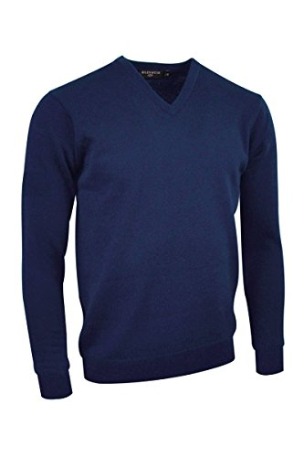 Glenmuir Mens MKL5900VN V Neck Lambswool Golf Sweater Navy XXXL ()
