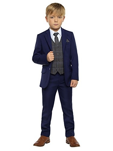 Paisley of London, Kingsman Blue, Boys Slim Fit Ring Bearer Suit with Shirt and Oliver Gray Vest, 18 -