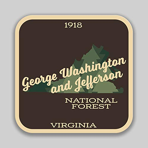 George Washington & Jefferson National Forest Vinyl Decal Sticker Car Window Bumper Kentucky Virginia West Virginia 2-Pack 4-Inches 4-Inches Premium Quality UV-Protective Laminate PDS1398