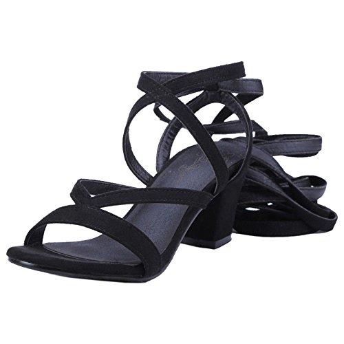 Coolcept Zapatos Mujer Moda Gladiator Leg Lace Strap Sandalias Tacon Ancho Medio Negro