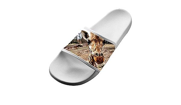 Mens Giraffe Head with Glasses Non-Slip Soft Foams Slipper Home Slide Sandals
