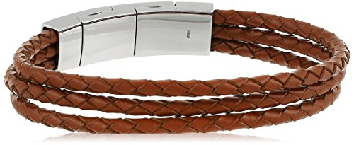Fossil Light Brown Multi-Strand Leather Bracelet