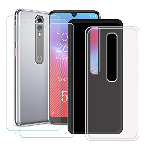YZKJ 2 Pack Case for Vodafone Smart V10 Cover + 3 x Screen Protector Tempered Glass Protective Film - Flexible Soft Gel Crystal Transparent + Black TPU Silicone Protection Case for (5.9