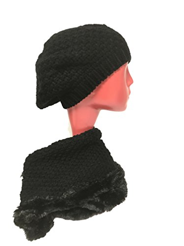W4W Womens Winter Warm Sherpa Fleece Lined Knit Infinity Scarf with complementing Slouchy Knitted Beret Beanie (Burgundy Felt Bonnet)