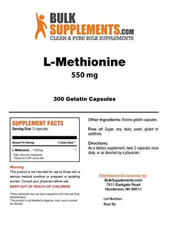 BulkSupplements L-Methionine 300 Gelatin Capsules