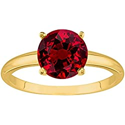 1/2 - 5 Carat 14K Yellow Gold Round Ruby 4 Prong Diamond Engagement Ring (AAA Quality)