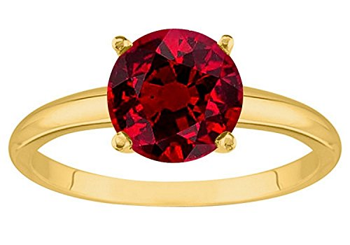 2 Carat 18K Yellow Gold Round Ruby 4 Prong Solitaire Diamond Engagement Ring (AAA Quality) 2 Ct Ruby Ring