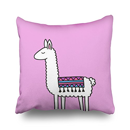 Custom Fringed Square Pillow - Sneeepee Hand Drawn White Llama Patterned Fringed Fringe Pattern Throw Pillows Custom Home Decorative Sofa Square Pillowcase 16x16 Inches Two Sides Cushion Covers Zippered Design