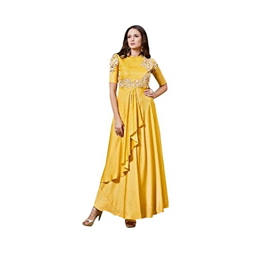 Yellow Designer Party Wear Gown Tunic Long Kurti Bollywood Indian ...