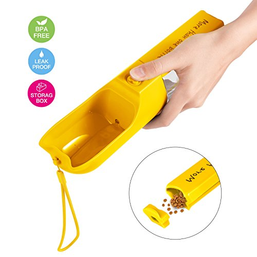 iVAPO Dog Water Bottle for Walking Pet Outdoor Drinking Cup with Multifunctional Storage Box Leak Proof 400ml Capacity Portable Travel Pet Water Bottle for Dogs Cats Walking Running Hiking Yellow
