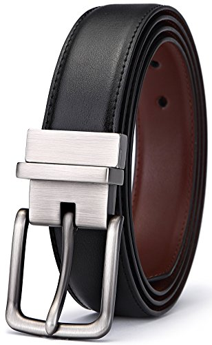 Bulliant Men Belt,Leather Reversible Belt for Men Dress&Casual,Trim to Fit