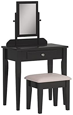 Crown Mark Iris Vanity Table/Stool, Espresso Finish with Beige Seat by Crown Mark, Inc.