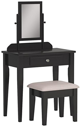 Crown Mark Iris Vanity Table/Stool, Espresso Finish with Beige Seat - Bedroom Vanity