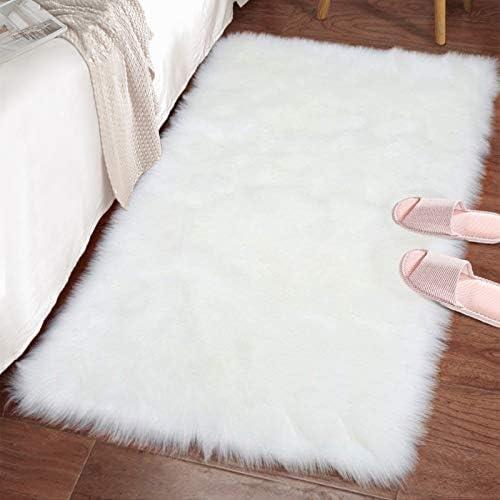 Lochas Ultra Soft Fluffy Rugs Faux Fur Sheepskin Area Rug For Bedroom Bedside Living Room Carpet Nursery Washable Floor Mat 2x3 Feet White Kitchen Dining Amazon Com