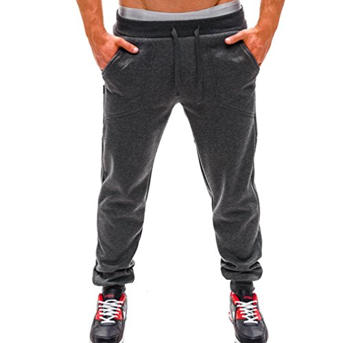 Sopety Mens Long Trousers Tracksuit Fitness Workout Joggers Gym Sweatpants (Gray, - Sliver Asian Fit