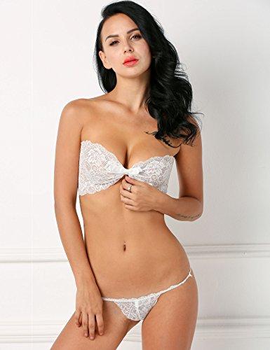 CRAVOG Sexy Spitze Bikini Set Damen Babydoll Unterwäsche trägerloser Verband Nachtwäsche BH+Slips White a0Q8G8