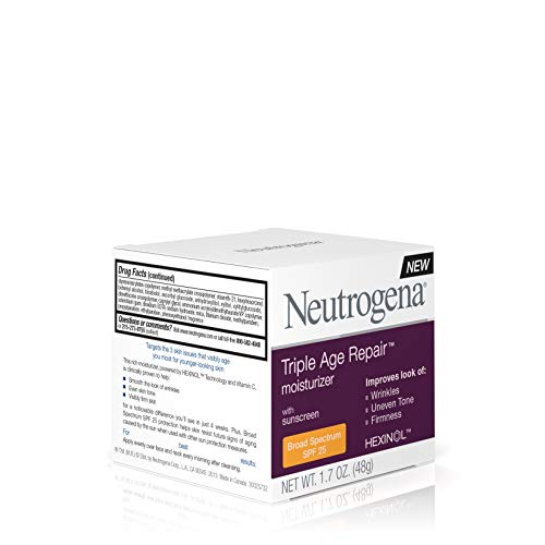 41RhZFCz BL - Neutrogena Triple Age Repair Anti-Aging Face Moisturizer with SPF 25 Sunscreen & Vitamin C, Dark Spot Remover & Firming Face & Neck Cream with Glycerin & Shea Butter, 1.7 oz