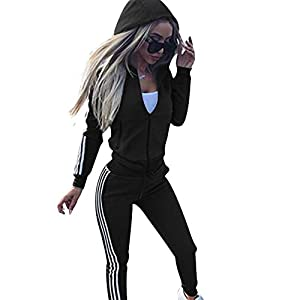 Cutecc Casual 2 Pieces Athletic Outfits Zip up Hooded Jacket and Long Sweatpants Sportswear Tracksuit Set