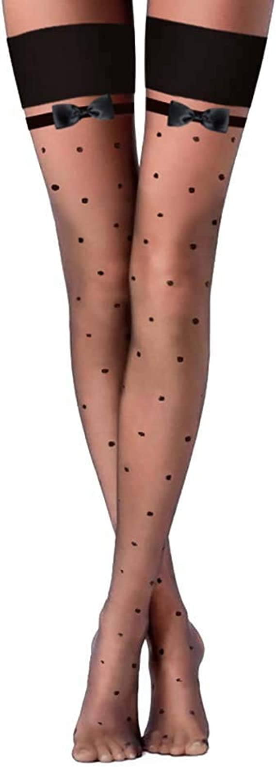 Details about  /New Women/'s Black Dotted Sheer Mesh Lace Thigh High Stockings