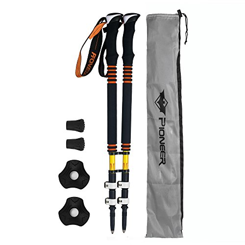 Carbon Fiber Adjustable Hiking Trekking Poles Lightweight Shock-Absorbent Collapsible Camping Walking Sticks Alpenstocks with Flip Locks and EVA Grip - 2 pack