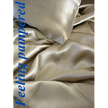 4 Pcs Luxurious 100% Mulberry Silk Charmeuse Sheet Set Queen, Taupe Direct Import Price