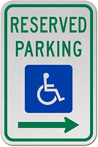 (Traffic Signs - MUTCD Accessible Reserved Parking Sign (Right Arrow) 12 x 18 Plastic Sign Street Weather Approved Sign )