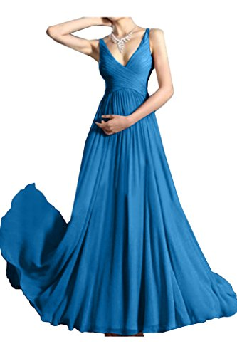 Festkleid Ausschnitt Linie A Ivydressing Abendkleid Damen Einfach Promkleid Blau Traeger V Partykleid qB6W7Sz