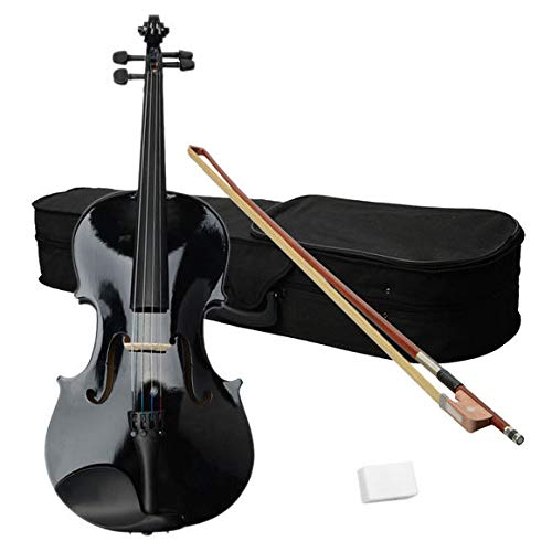 Layee 16 Inch Viola, Wood Acoustic Viola with Case, Bow, and Rosin Accessory for Beginners, Black