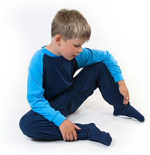 Special Needs Unisex Zip Back Footed Pajamas for Kids - Navy/Turq (9-10 yrs)
