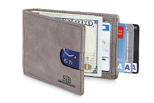 Travel Wallet RFID Blocking Bifold Slim Genuine Leather Thin Minimalist Front Pocket Wallets for Men Money Clip - Made From Full Grain Leather (Slate Gray 1.0) ()