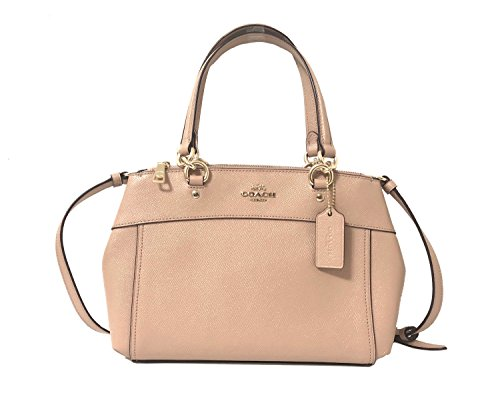 Coach Womens Mini Brooke Carryall Handbag, Signature Crossgrain Leather, Detachable Crossbody Strap (Mini, Nude Pink)