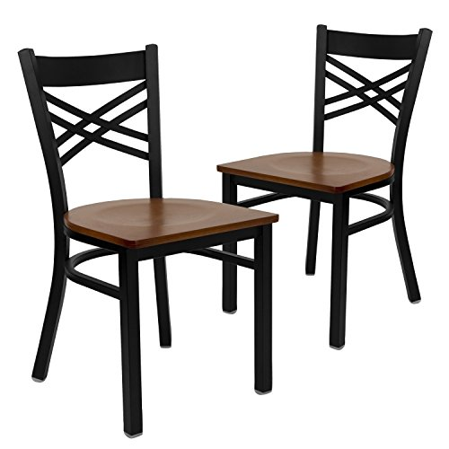 Flash Furniture 2 Pk. HERCULES Series Black ''X'' Back Metal Restaurant Chair - Cherry Wood Seat ()