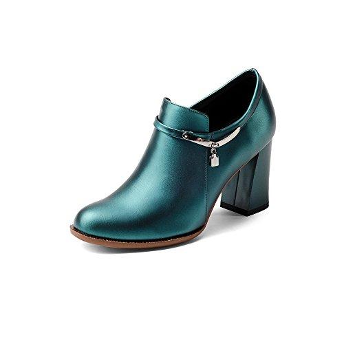 mujer Botines redonda Tacones Dark Green de QIN Puntera con zapatos corto plataforma amp;X bloque RxwEt8