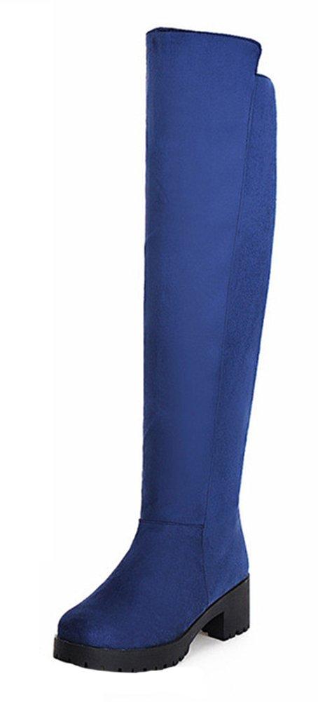 SHOWHOW Damen Nubukleder Overknees Langschäfter Schaftstiefel Blau 34 EU IElvo