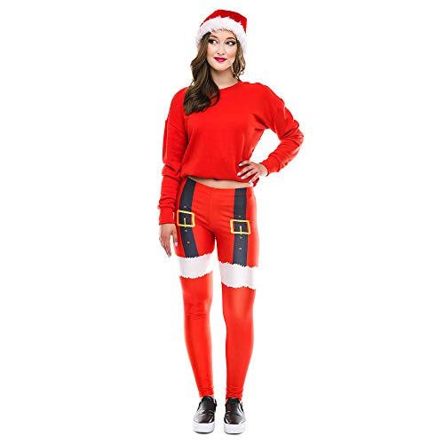 GOVOW Christmas Pants for Women Santa Claus Print Tighten High Waist Pencil Trousers Plus Size ()