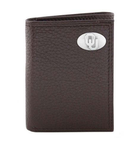 NCAA Oklahoma Sooners Brown Pebble Grain Leather Trifold Concho Wallet, One Size