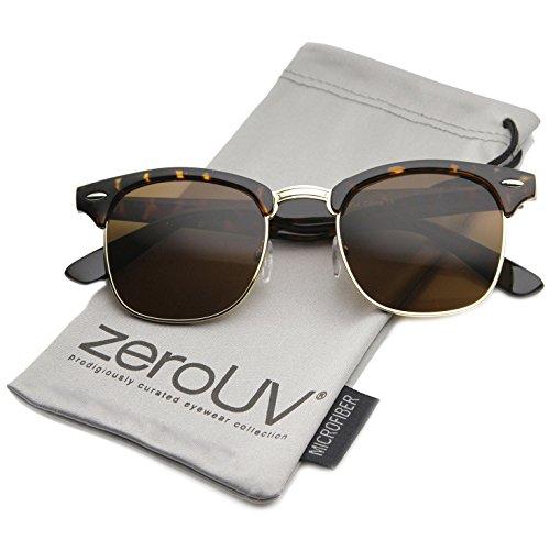 zeroUV - Premium Half Frame Horn Rimmed Sunglasses with Metal Rivets (Classic Series | Tortoise / Amber)