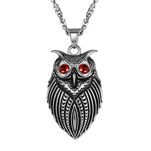 PROSTEEL Owl Necklace,Night Bird Charm Necklace,Owl Pendant & Chain,Vintage,Retro,Protection Symbol,Red Cubic Zirconia,Men Jewelry,Stainless Steel,22''+2'',PSP2862G