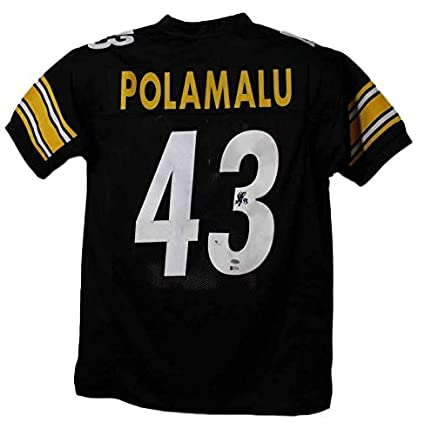 a2d2d42c4 Troy Polamalu Autographed Pittsburgh Steelers XL Black Jersey BAS at ...