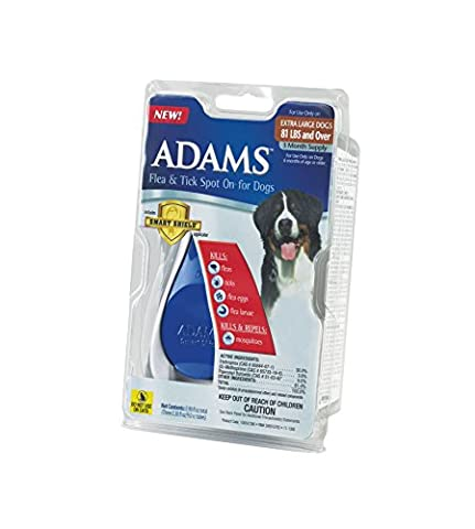 Adams Flea and Tick Spot On for Dogs, Extra Large Dogs 81+ Pounds, 3 Month Supply, With Applicator - Advantix Flea Treatment