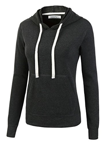 Vetemin Women's Basic Soft Brushed Fleece Long Sleeve Pocket Hoodies Sweatshirts Charcoal XL
